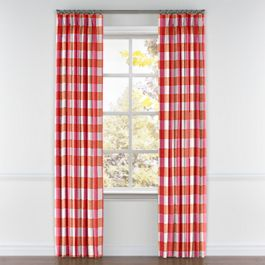 Pink & Orange Buffalo Check Pleated Curtains Close Up