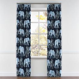 Navy Blue Elephant Pleated Curtains Close Up