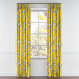 Yellow & Gray Zoo Animal Pleated Curtains Close Up