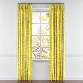 Yellow Leopard Print Pleated Curtains Close Up