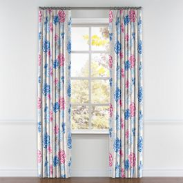 Blue & Pink Floral Pleated Curtains Close Up