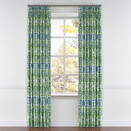 Green & Blue Ikat Pleated Curtains Close Up