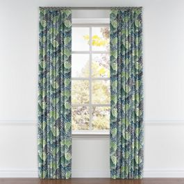 Green Hillside Floral Pleated Curtains Close Up