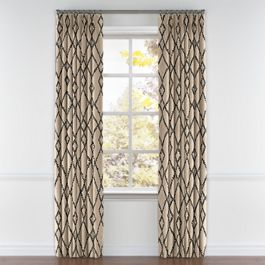 Black & Tan Tribal Trellis Pleated Curtains Close Up