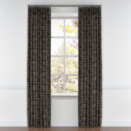 Black Woven Tribal Pleated Curtains Close Up