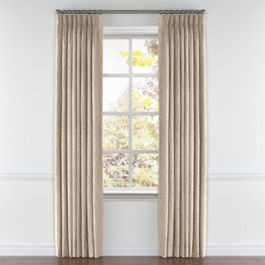 White & Tan Embroidery Pleated Curtains Close Up