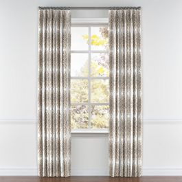 White & Tan Spiky Oval Pleated Curtains Close Up