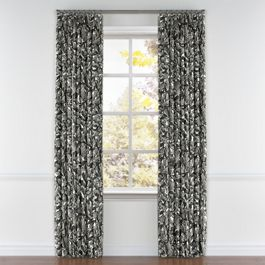 Modern Black & White Floral Pleated Curtains Close Up