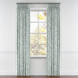Modern Light Blue Floral Pleated Curtains Close Up