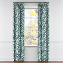 Blue Floral & Bird Pleated Curtains Close Up