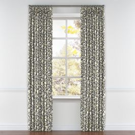 Dark Gray Floral & Bird Pleated Curtains Close Up