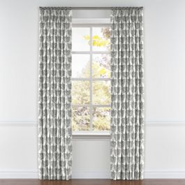 Flocked Gray Bird Pleated Curtains Close Up