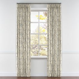 Silver & Tan Abstract Stripes Pleated Curtains Close Up