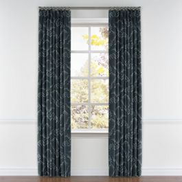 Navy Blue Cloud Pleated Curtains Close Up