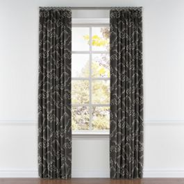 Charcoal Gray Cloud Pleated Curtains Close Up