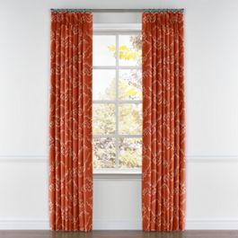 Burnt Orange Cloud Pleated Curtains Close Up