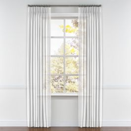 Bright White Gauzy Linen Pleated Curtains Close Up