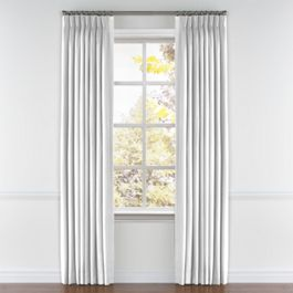 Bright White Linen Pleated Curtains Close Up