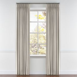 Light Taupe Linen Pleated Curtains Close Up