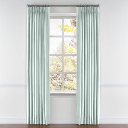 Pale Green Linen Pleated Curtains Close Up