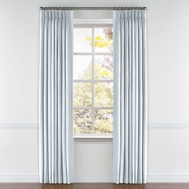 Powder Blue Linen Pleated Curtains Close Up