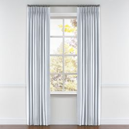 Pale Aqua Linen Pleated Curtains Close Up