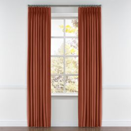 Dark Red-Orange Linen Pleated Curtains Close Up