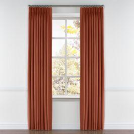 Dark Red-Orange Linen Pleated Curtains Close Up