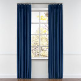 Dark Navy Blue Linen Pleated Curtains Close Up