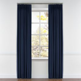 Dark Indigo Blue Linen Pleated Curtains Close Up