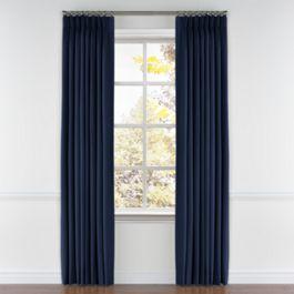 Dark Indigo Blue Linen Pleated Curtains Close Up