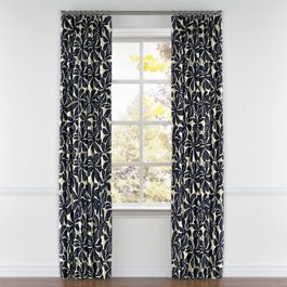 Navy Graphic Floral Pleated Curtains Close Up