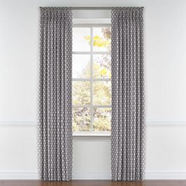 White & Gray Polka Dot Pleated Curtains Close Up