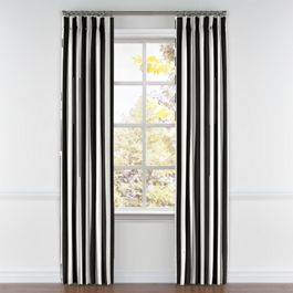 Black & White Awning Stripe Pleated Curtains Close Up