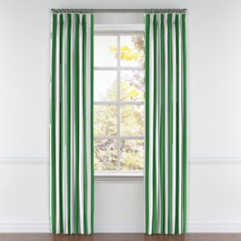 Green Awning Stripe Pleated Curtains Close Up