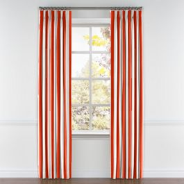 Red Awning Stripe Pleated Curtains Close Up