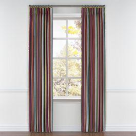 Purple Multicolor Striped Pleated Curtains Close Up