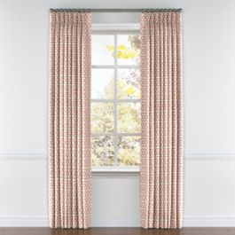 Pale Coral Trellis Pleated Curtains Close Up