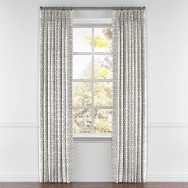 Light Gray Trellis Pleated Curtains Close Up