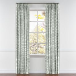 Pale Seafoam Trellis Pleated Curtains Close Up