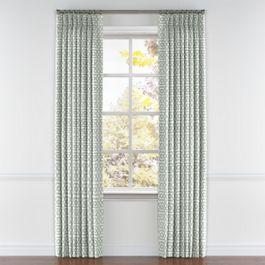 Pale Seafoam Trellis Pleated Curtains Close Up