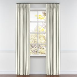 White Sunbrella® Canvas Pleated Curtains Close Up