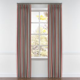 Red Blue Tan Stripe Pleated Curtains Close Up