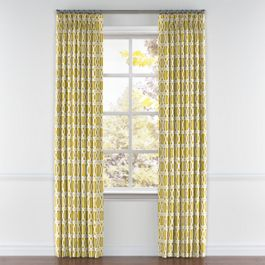 Bright Yellow Trellis Pleated Curtains Close Up