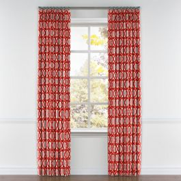 Coral Red Trellis Pleated Curtains Close Up