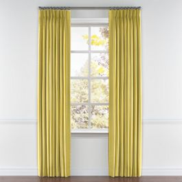 Bright Yellow Thin Stripe Pleated Curtains Close Up