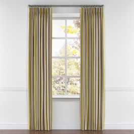 Yellow & Taupe Stripe Pleated Curtains Close Up