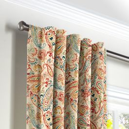 Multicolor Red Paisley Back Tab Curtains Close Up
