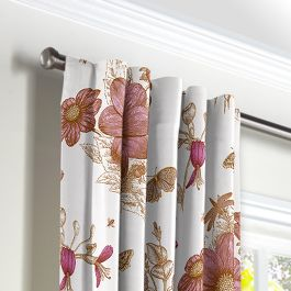 Sketched Pink Floral Back Tab Curtains Close Up