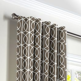 Modern Taupe Trellis Back Tab Curtains Close Up